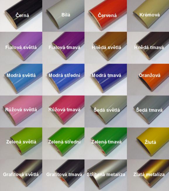 Vzorník barev folií